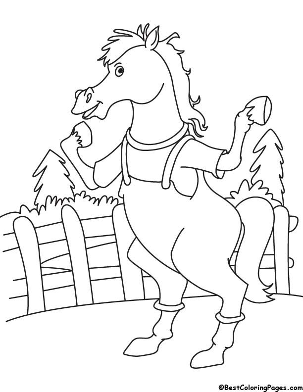Horse in farm coloring page