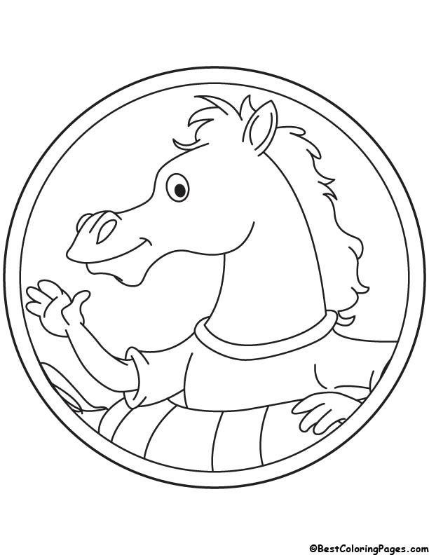Horse logo coloring page