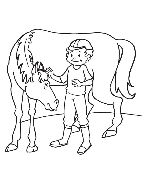 Horse loving coloring page