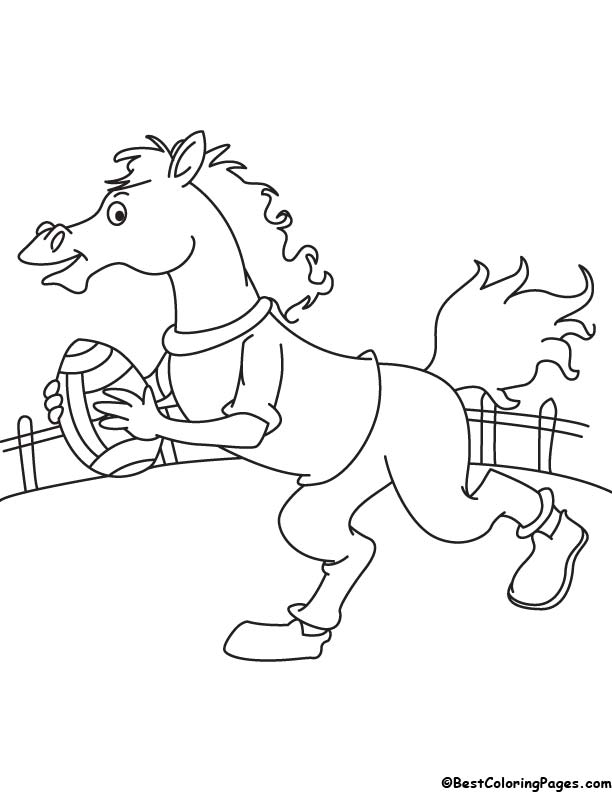 Horse playing rugby coloring page