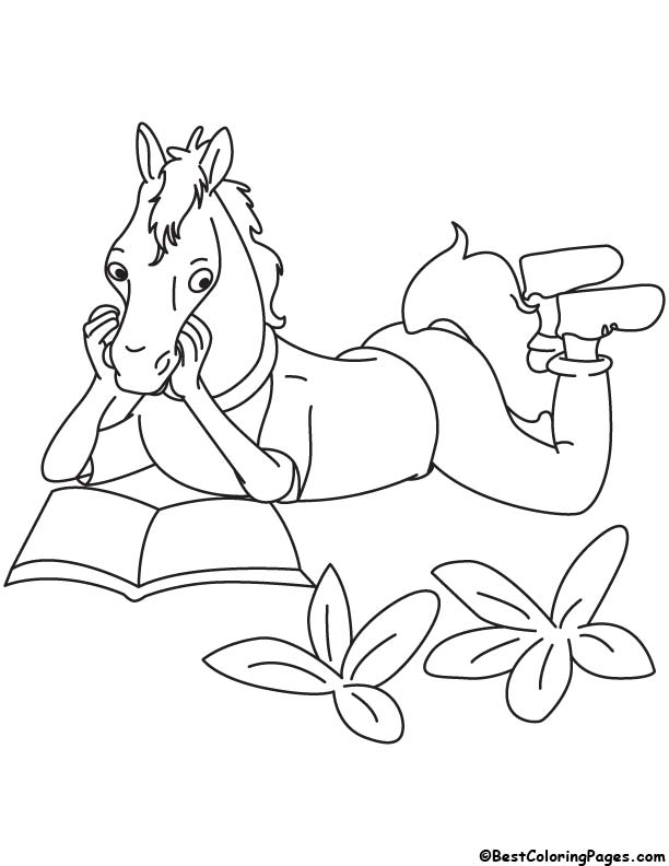 Horse reading coloring page