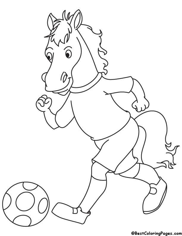 Horse running with football coloring page
