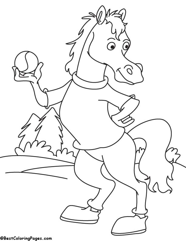Horse with ball coloring page