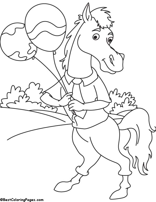 Horse with balloons coloring page