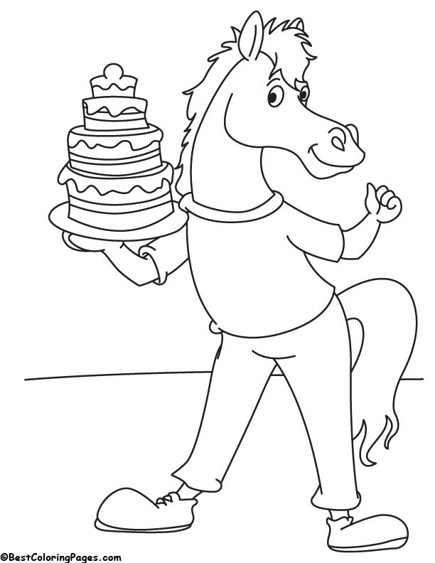 Horse with cake coloring page