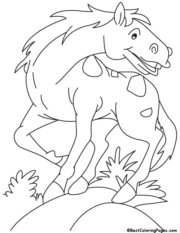 Horse with the wind coloring page