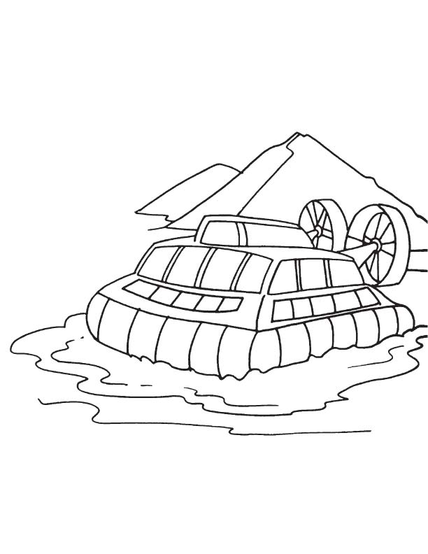 hovercraft in water coloring page
