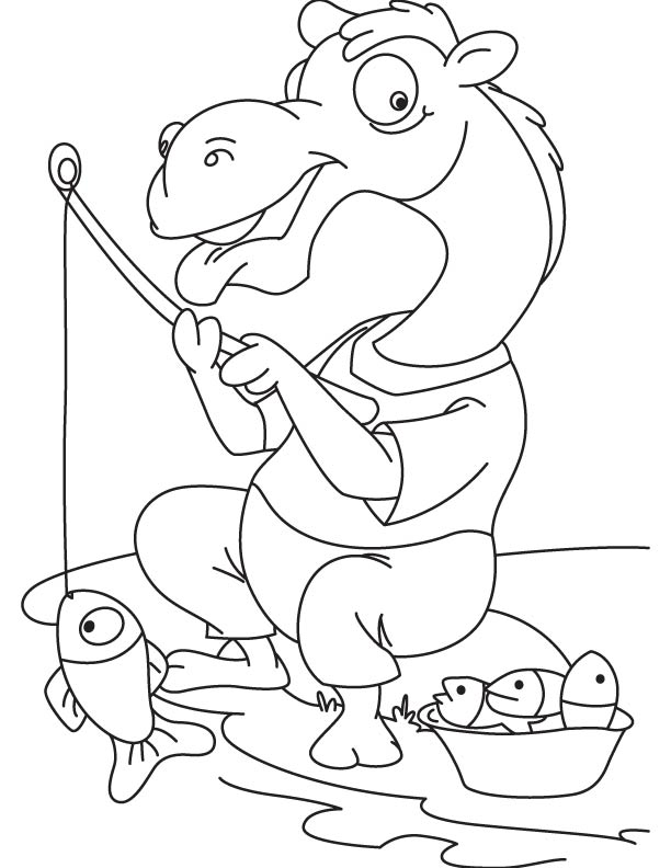 Hungry camel fishing coloring page