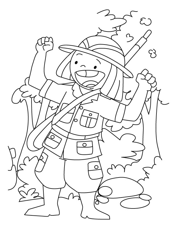 A happy hunter coloring page