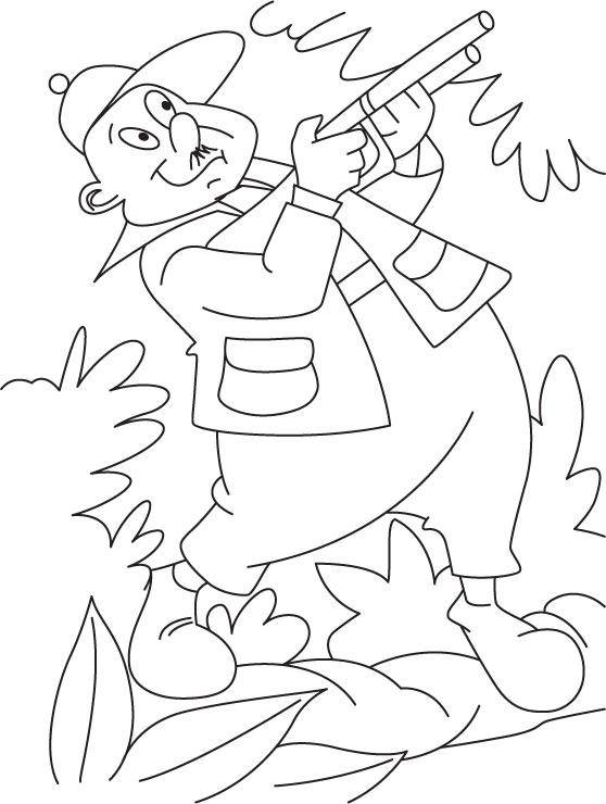A hunter in jungle coloring page