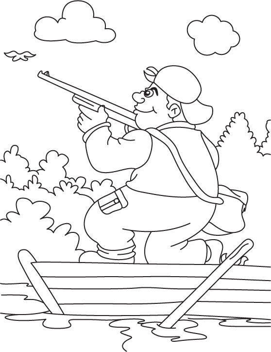 a hunter hunting in the boat coloring page - Hunting Coloring Pages