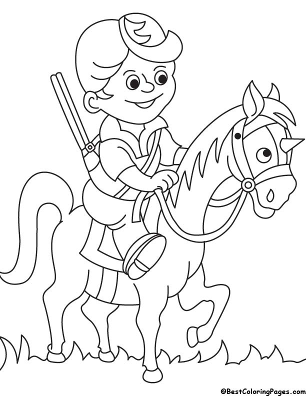 Hunter on horse coloring page