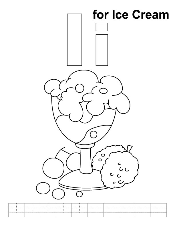 I for ice cream coloring page with handwriting practice