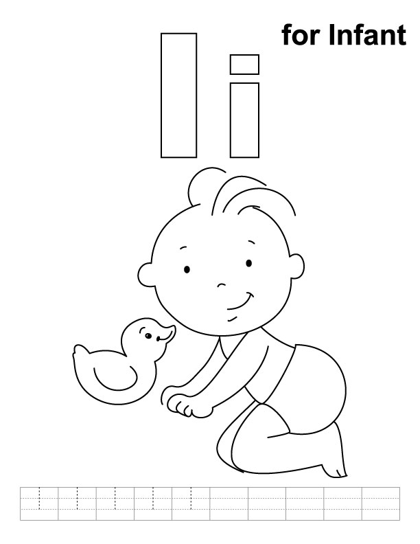 I for infant coloring page with handwriting practice