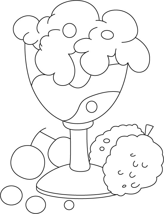 Fruit ice cream coloring page