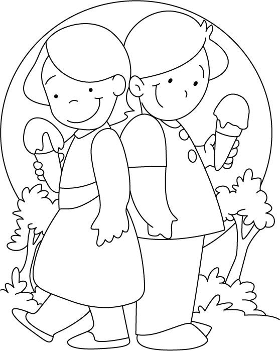 Enjoying ice cream coloring pages