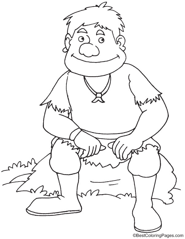 Innocent giant smiling coloring page