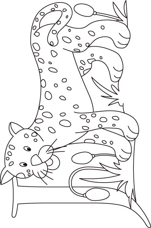J for jaguar coloring page for