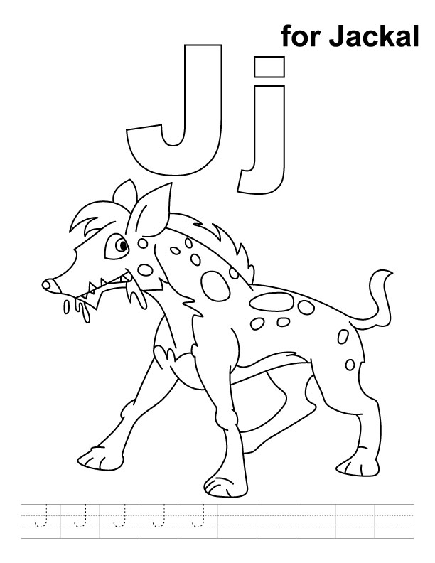 J for jackal coloring page with handwriting practice