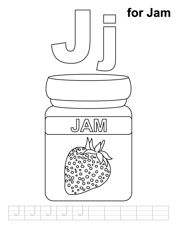 J for jam coloring page with handwriting practice