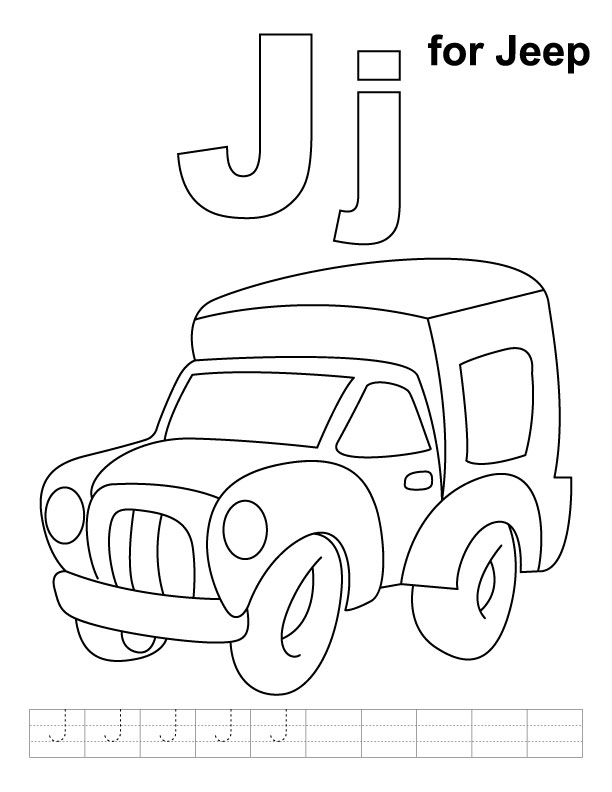 J for jeep coloring page with handwriting