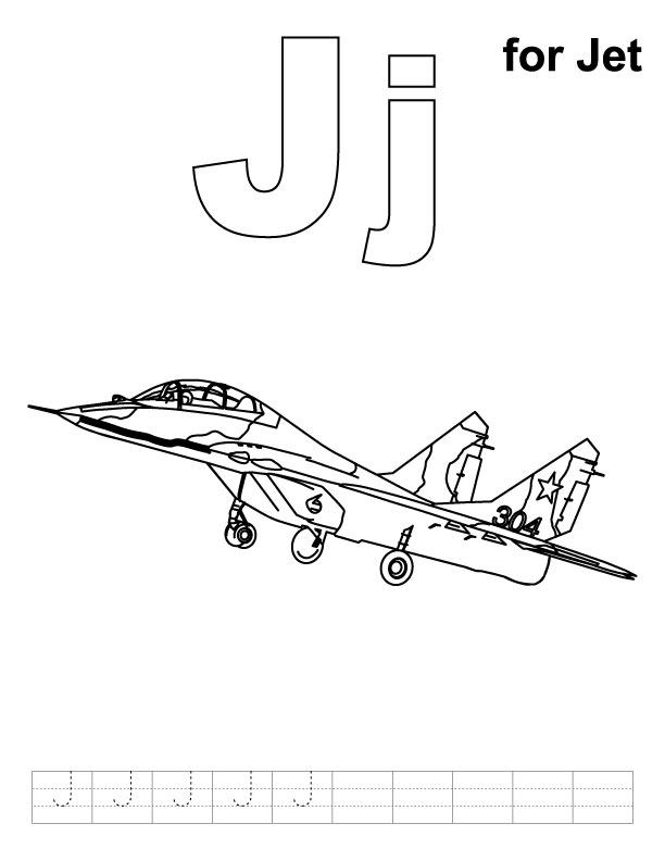 J for jet coloring page with handwriting practice