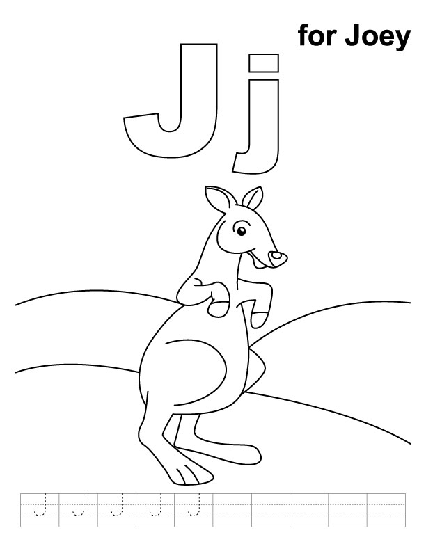 J for joey coloring page with handwriting practice