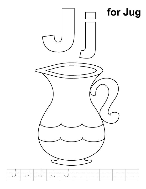 j for jug coloring pages - photo #1