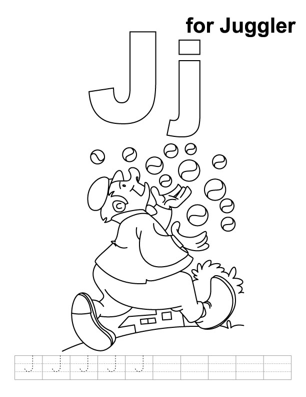 J for juggler coloring page with handwriting practice
