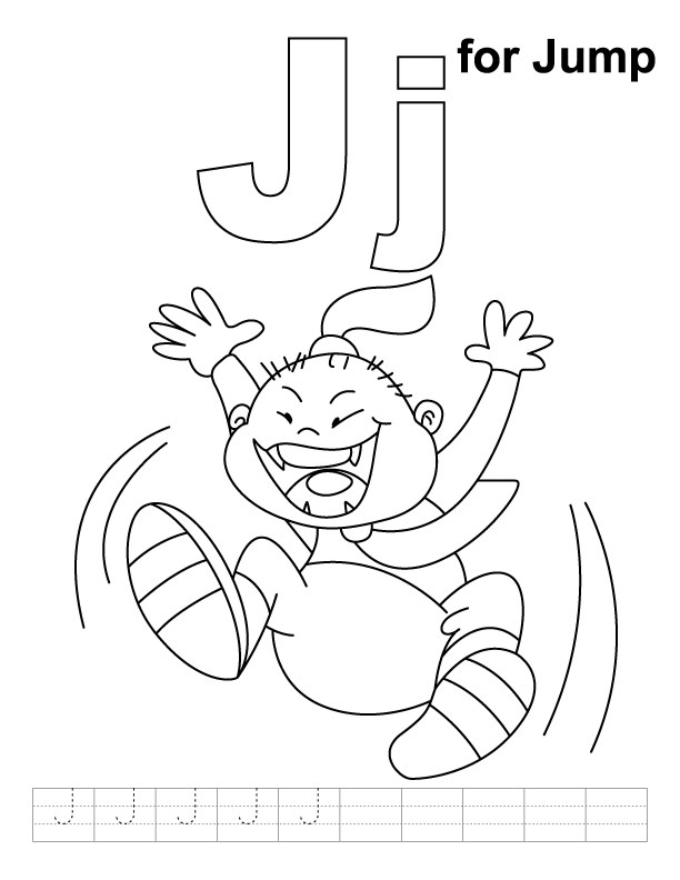 J for jump coloring page with handwriting practice