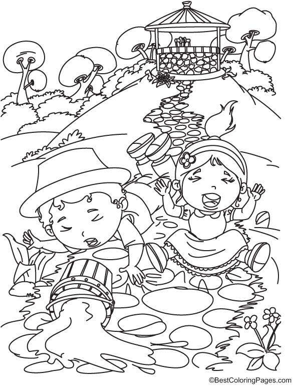 Jack and Jill Nursery Rhymes Coloring Page