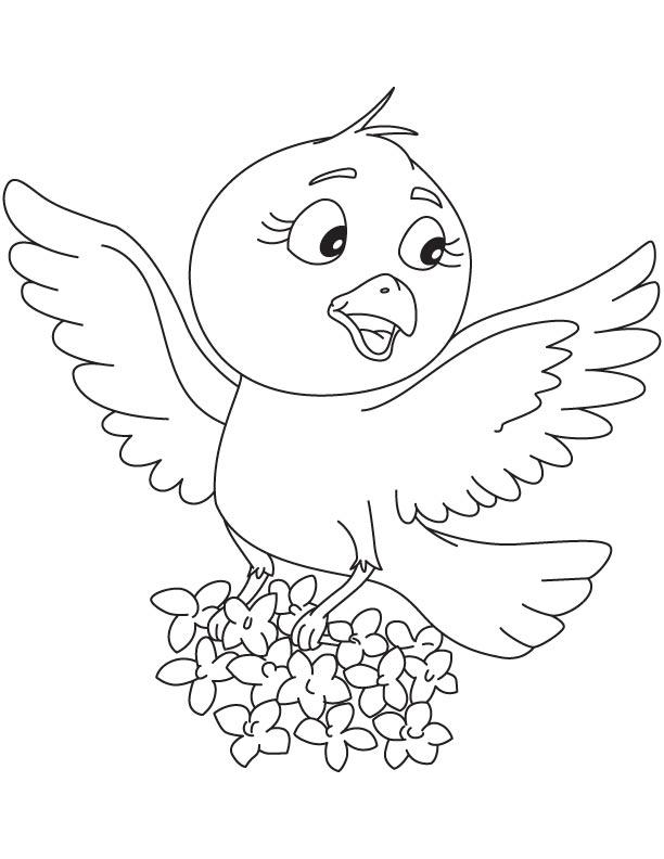 Jasmine bird coloring page