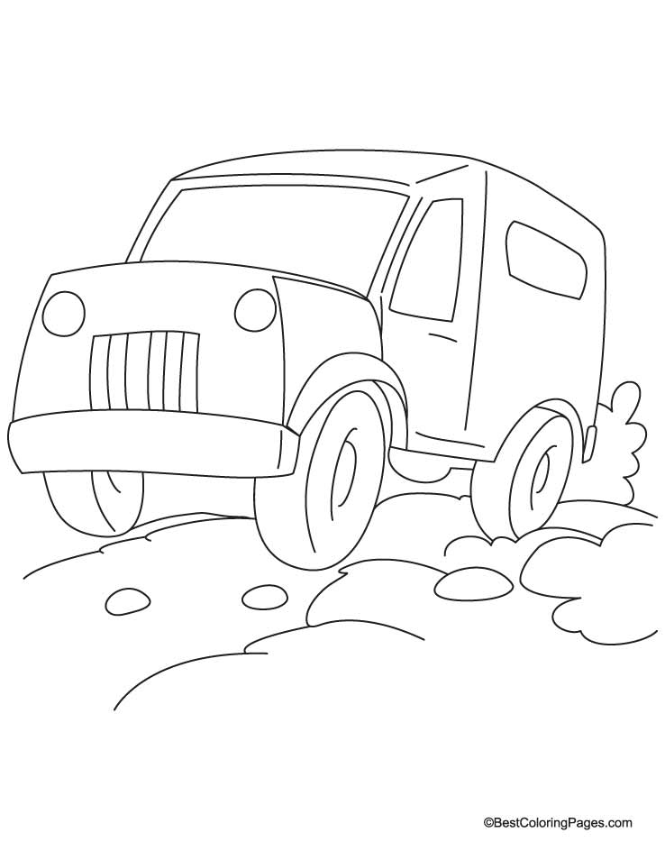 Heavy jeep coloring page