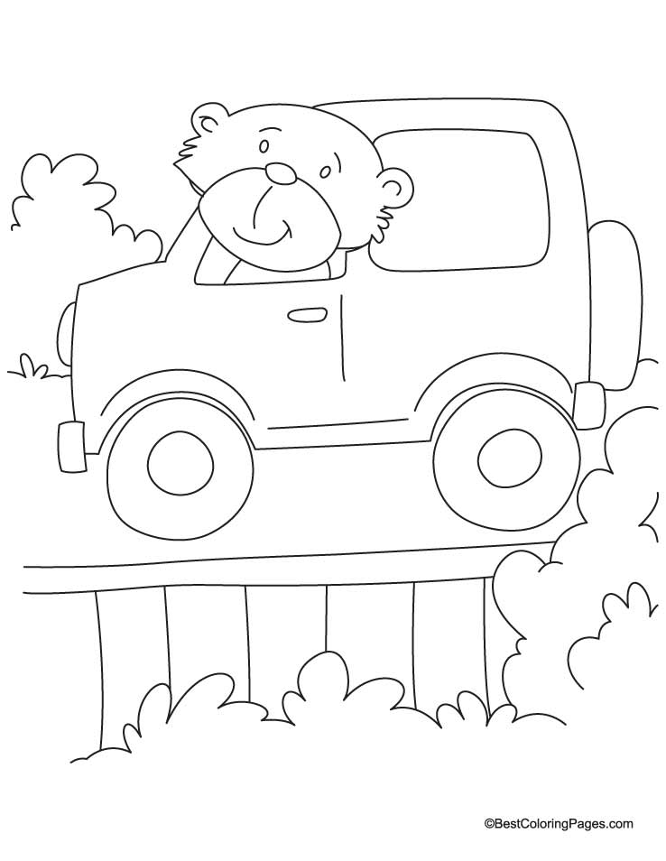 Bear Driving The Jeep Coloring Page