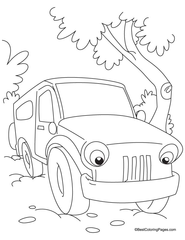 Jungle Jeep Coloring Page