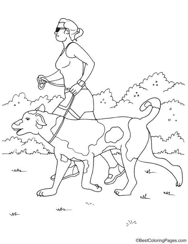 Jogging with dog coloring page