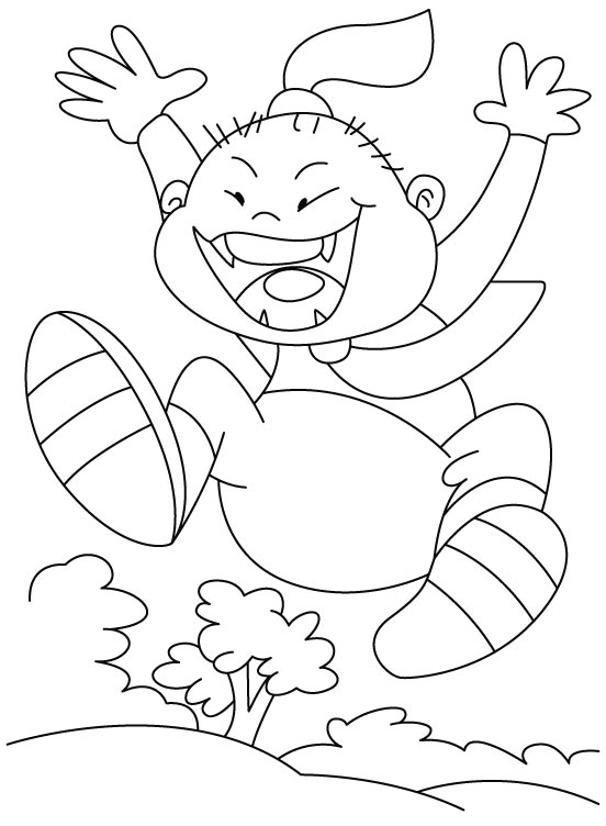 Free coloring pages of kids jumping