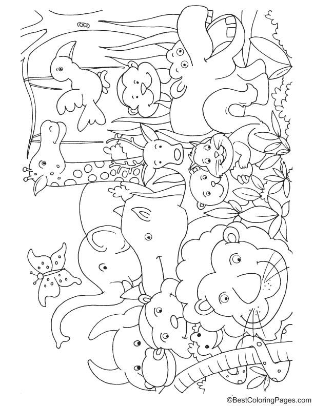 Jungle animals for kids coloring page