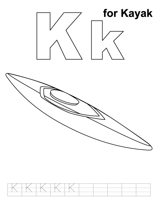 K for kayak coloring page with handwriting practice