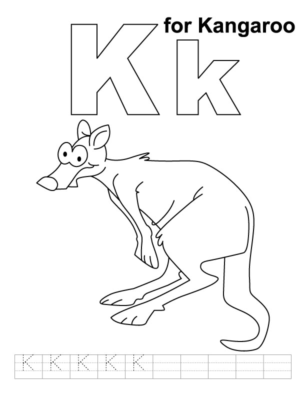 k for kangaroo coloring page with handwriting practice