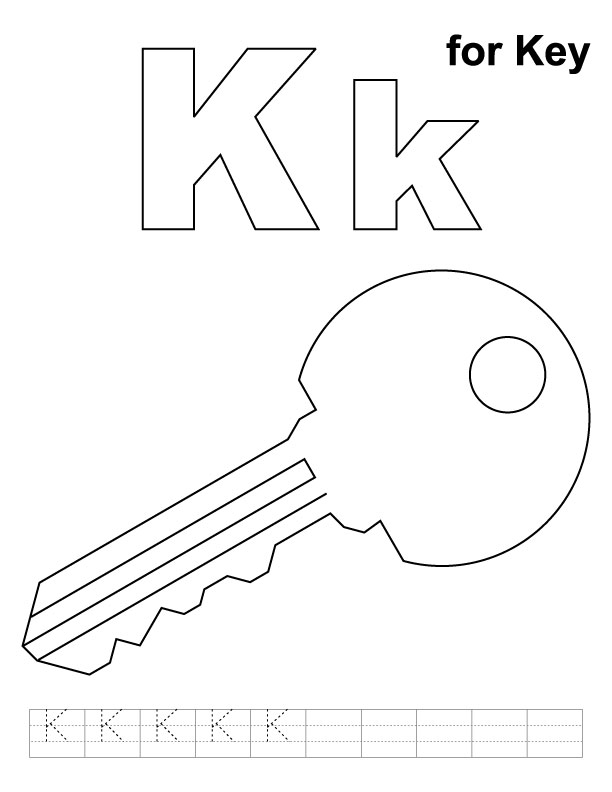 K for key coloring page with handwriting practice for Key coloring page