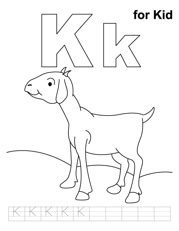K for kid coloring page with handwriting practice