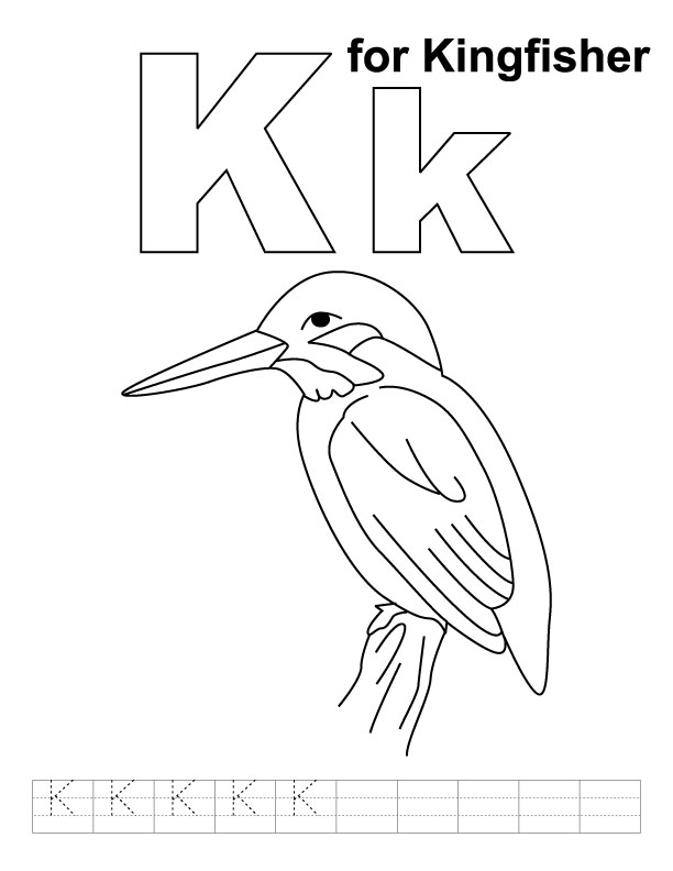 K for kingfisher coloring page with handwriting practice