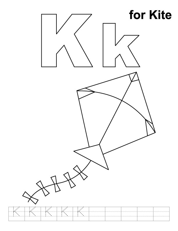 K for kite coloring page with handwriting practice Download Free