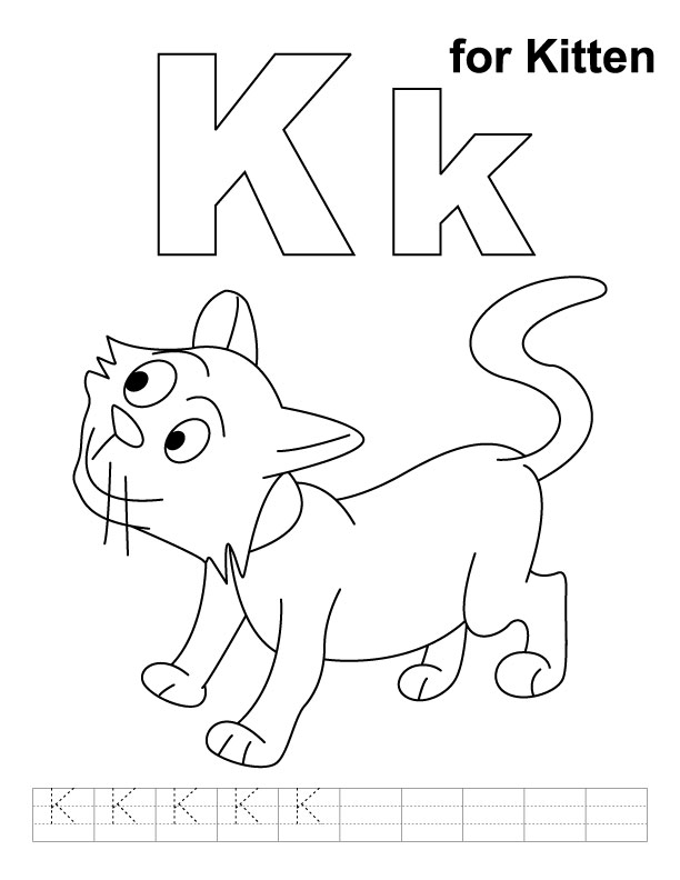 k is for kitten coloring pages - photo #2