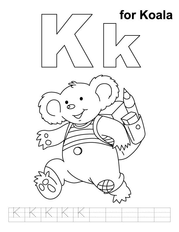 K for koala coloring page with handwriting practice
