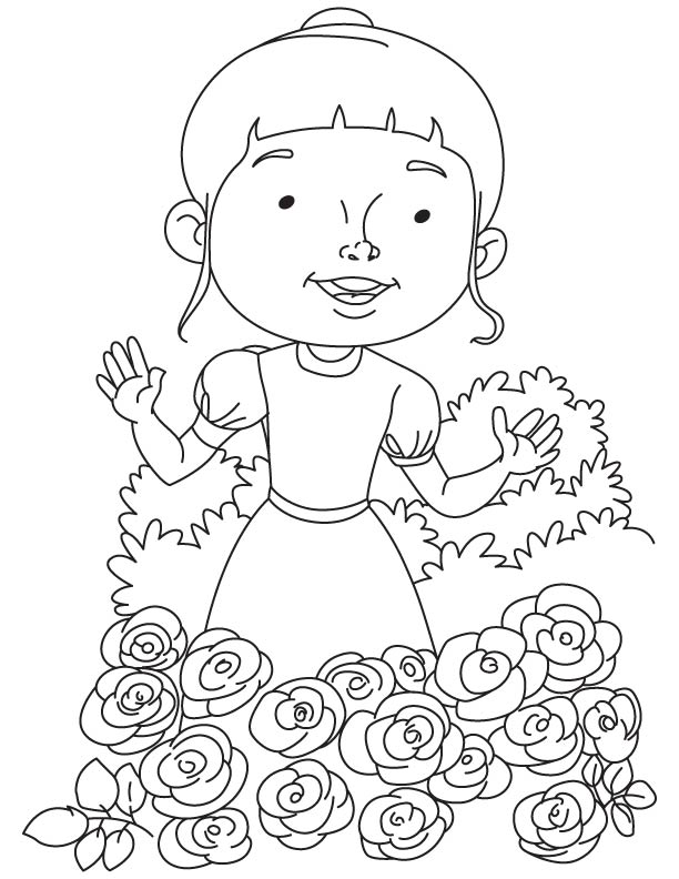 Katty In Rose Garden Coloring Page