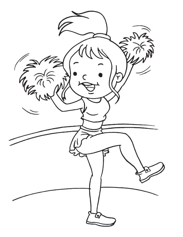 Kid cheerleader coloring page