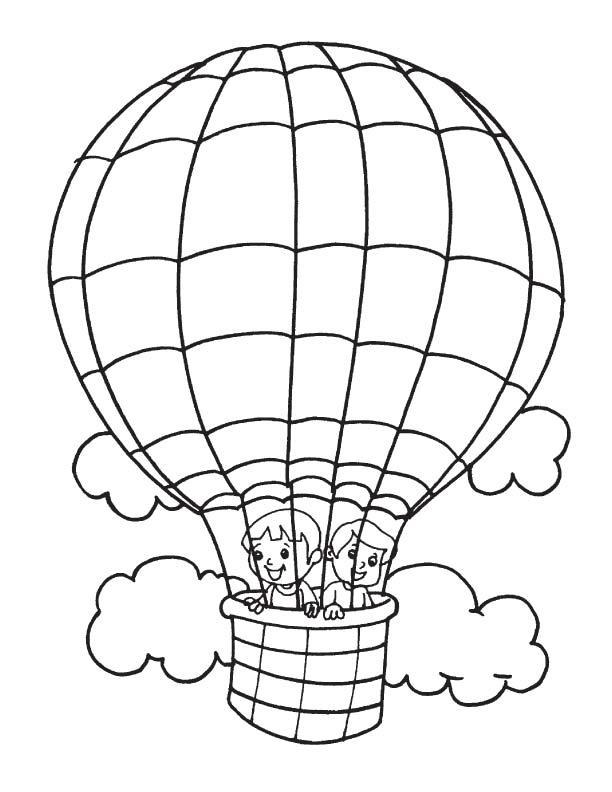 kids in hot air balloon coloring page | download free kids in hot ... - Hot Air Balloon Pictures Color