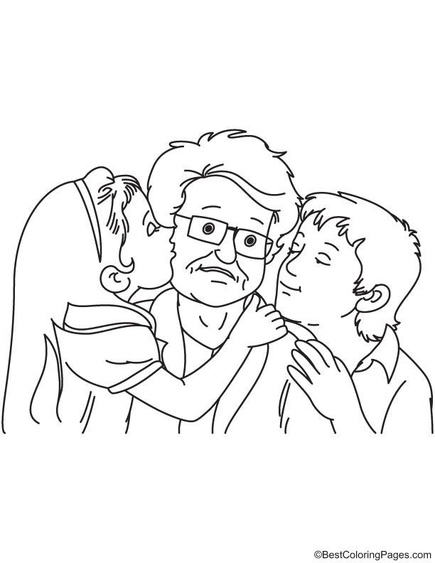 Kids kissing grandpa coloring page